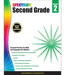 Spectrum Second Grade Math, Lang Arts, Reading 2