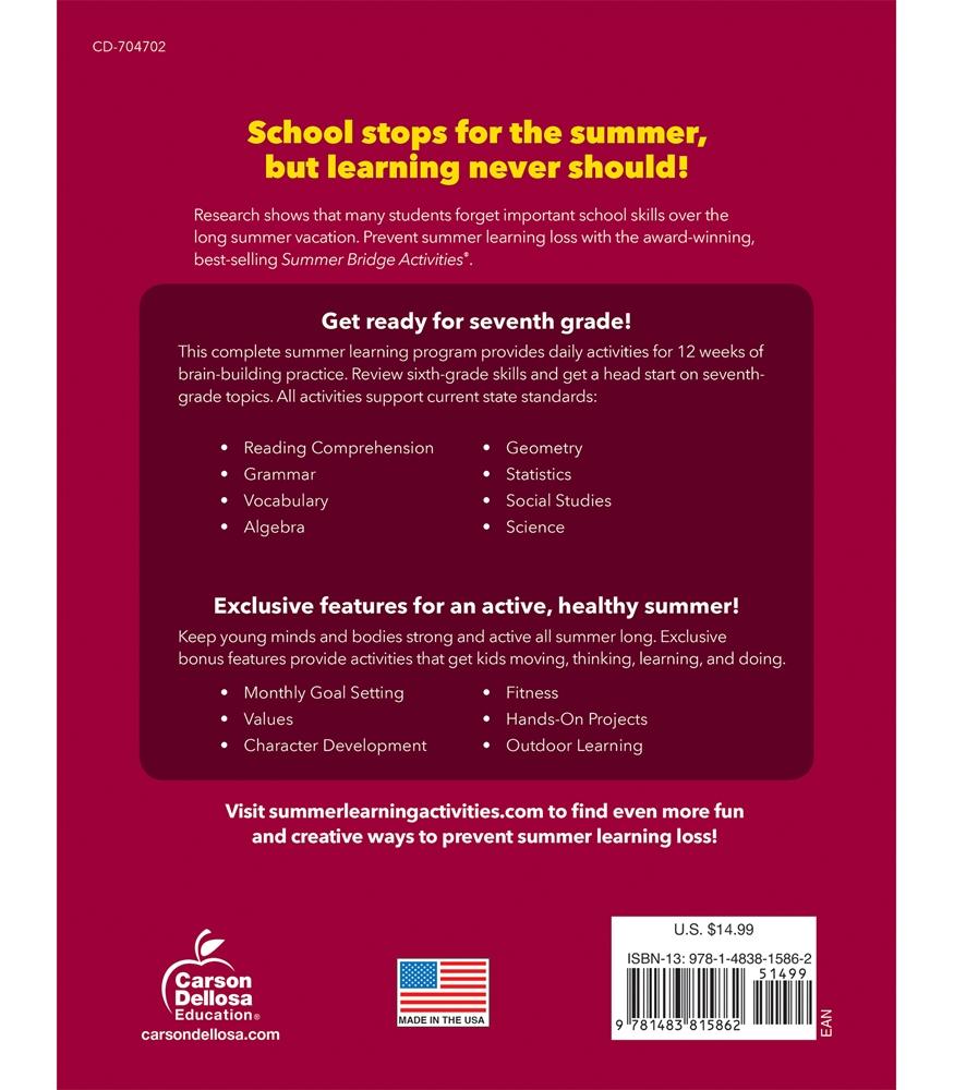 Summer Bridge Activities   Sale $9.99   Sixth to Seventh Grade
